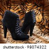 Boots from suede against a skin of a tiger - stock photo