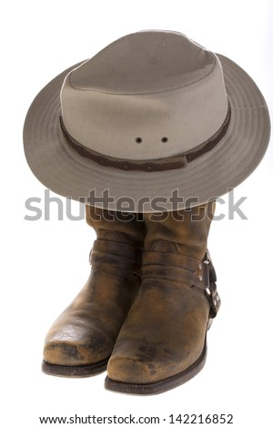 boots with hat - stock photo