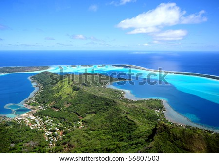 bora bora , aerial view - stock photo