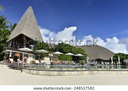 Bora Bora and South Pacific Ocean, French Polynesia - stock photo