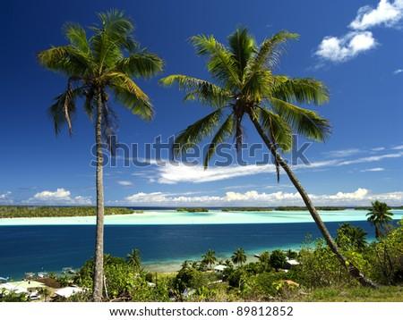 Bora Bora Lagoon from above on a sunny day, 40 MPixel native resolution - stock photo