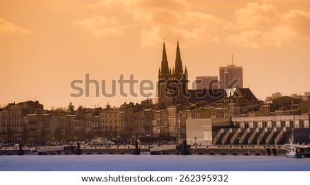 Bordeaux city view from the river Garonne - stock photo