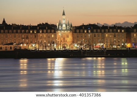 BORDEAUX, FRANCE - 5 April, 2016 : View of Saint-Louis Church Gate Porte Cailhau from the other side of Garonne River, Bordeaux, France