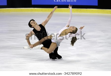 BORDEAUX, FRANCE - NOVEMBER 12, 2015: Alexandra STEPANOVA / Ivan BUKIN of Russia perform free dance during the official training at Trophee Bompard ISU Grand Prix at Patinoire Meriadeck Arena.