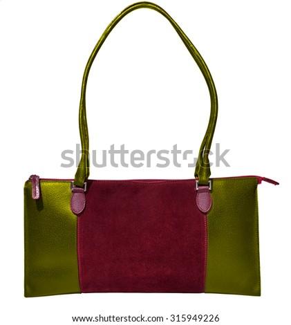 Bordeaux handbag genuine leather - stock photo