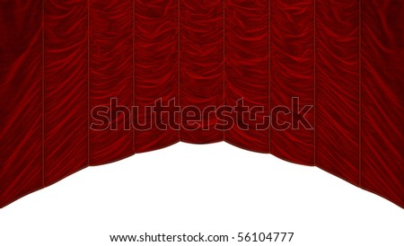 Bordeaux Red Curtain isolated over white. Beautiful textile pattern. Extralarge resolution - stock photo