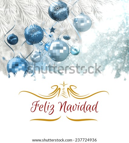 border against christmas tree branch with blue decorations - stock photo