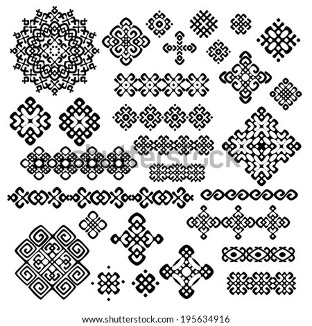 Border and decoration elements patterns in black and white colors. Most popular ethnic signs in one mega pack set collections. Raster copy. - stock photo