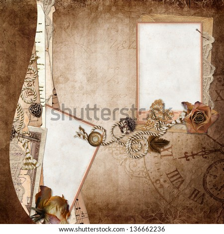 Border cards with old letters, documents on vintage background - stock photo