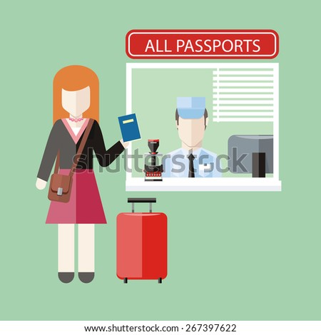 Border control concept in flat design. Woman gives a passport to check customs officers. Raster version - stock photo
