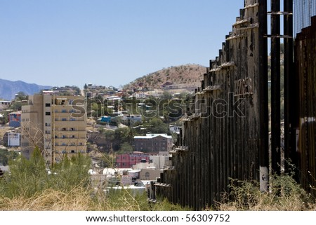 Border Fence Arizona, United States and Mexico - stock photo