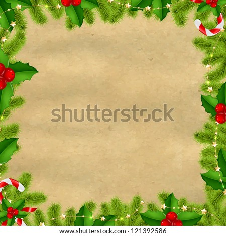 Border Fir-tree Branches With Gold Stars And Old Papper Isolated On White Background - stock photo