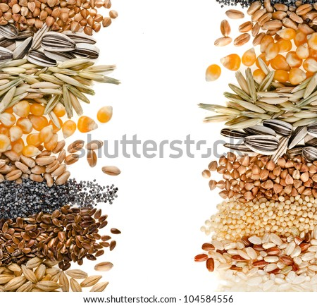 Border frame of Cereal Grains and Seeds : Rye, Wheat, Barley, Oat, Sunflower, Corn, Flax, Poppy, Millet on white - stock photo