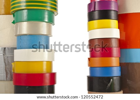 Border Frame  of Multicolored insulating tapes roll  isolated on white background - stock photo