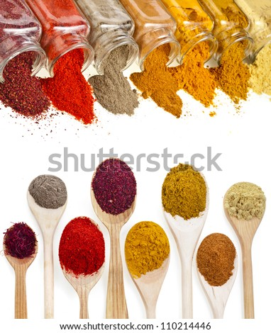 border frame of powder spices isolated on a white background