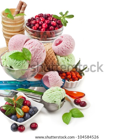 border ice cream with fresh berries with copy space  isolated on white - stock photo