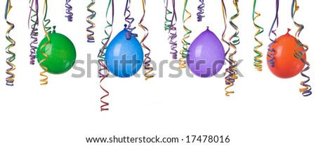Border made from colorful balloons and confetti isolated on white background  easy to separate and make your own design - stock photo