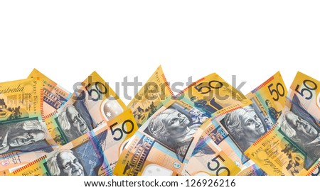 Border of Australian fifty dollar notes, over white background. - stock photo
