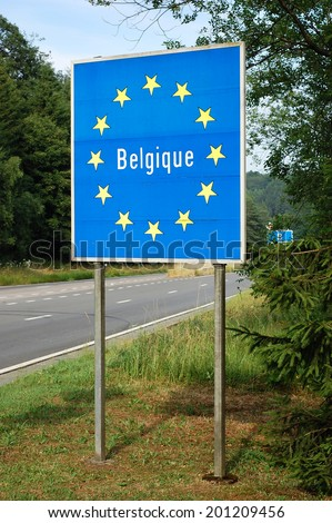 Border of Belgium - Road sign indicating the border of a European Union country - stock photo