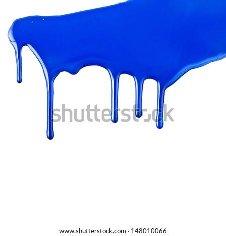 Border of blue paint leaking isolated on white background  - stock photo