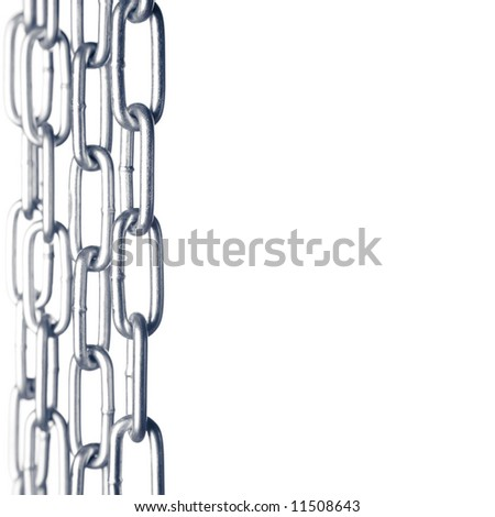 border of chains  isolated on white background, please have a look at my other images of chains - stock photo