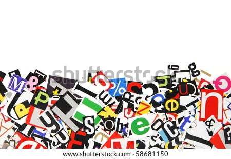 border of clipped ransom style letters - stock photo