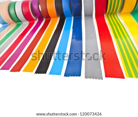 border of colourful insulating adhesive tape isolated on white background - stock photo