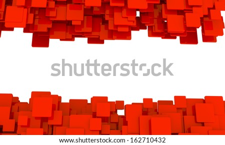 Border of 3d red cubes isolated on white in different sizes in a scattered layers and a random pattern with perspective and a blank central copyspace - stock photo