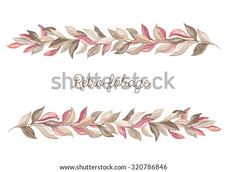 Border of foliage. Watercolor design elements on a white background. Floral decor - stock photo