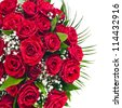 Border of Red roses bouquet isolated on the white background - stock photo