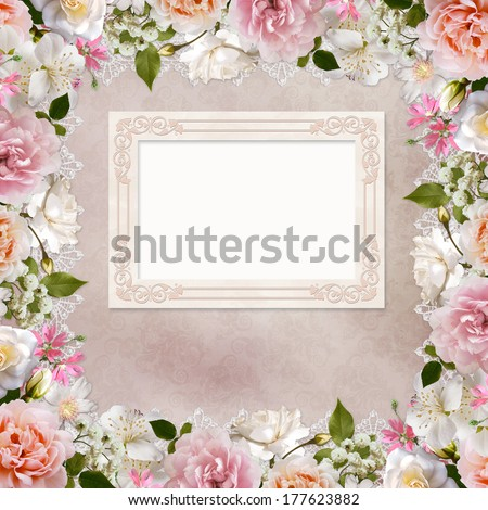 Border of roses, lace and frame on vintage background - stock photo