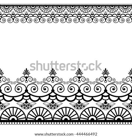 Border pattern elements with flowers and lace lines in Indian mehndi style isolated on white background. Black and white illustration