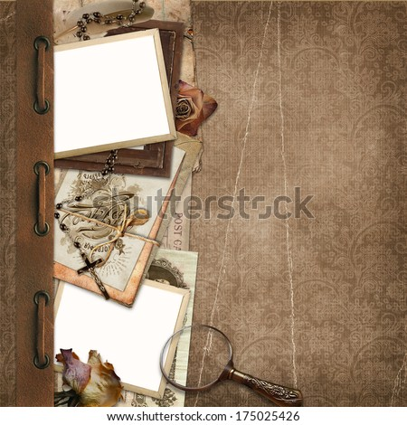 Border with old documents, photos on the vintage background - stock photo