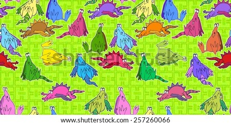 bored dragons seamless pattern - stock photo