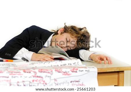 bored school boy - stock photo