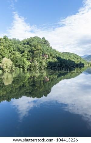 Borgo a Mozzano (Lucca, Tuscany, Italy),  the Serchio river at summer - stock photo