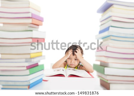 boring and tired little girl with many books - stock photo