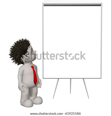 Boris 3D character standing in front of blank flipchart - stock photo