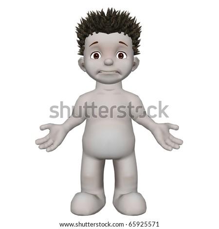 Boris 3D character standing not sure pose - stock photo