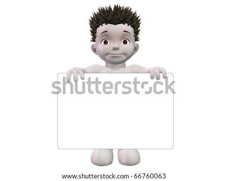 Boris holding small blank white sign - stock photo