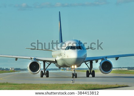 Borispol, Ukraine - September 17, 2011: Lufthansa Airbus A320 taxiing to the runway to takeoff