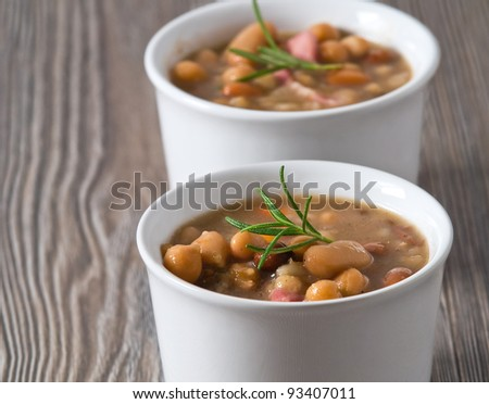 Borlotti bean and spelt soup. - stock photo