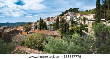 Bormes les Mimosas - Town Panoramic view with Mimosas trees - France - stock photo