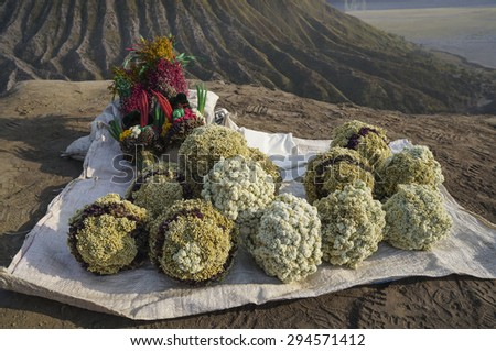 BORMO - JUNE 14, 2015: flower for offering for sale near the foot of Mount Bromo at Bromo Tengger Semeru National Park, Indonesia. - stock photo