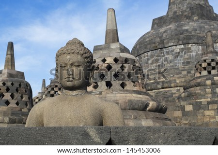 Borobudur in Java island - stock photo