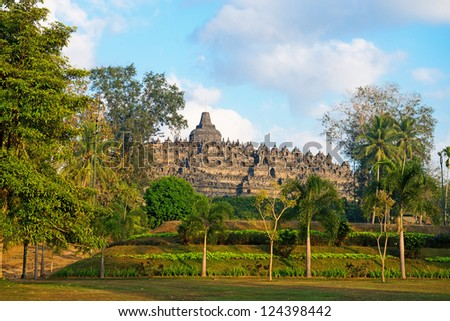 Borobudur, or Barabudur, temple Jogjakarta, Java, Indonesia. It is a 9th-century Mahayana temple and the biggest  Buddhist Temple in Indonesia. - stock photo