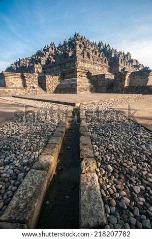 Borobudur Temple at morning, Yogyakarta, Java, Indonesia. - stock photo
