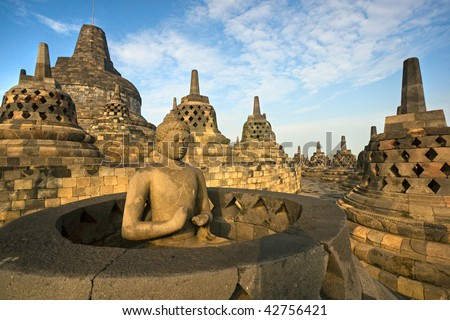 Borobudur Temple at sunset. Yogyakarta, Java, Indonesia. - stock photo