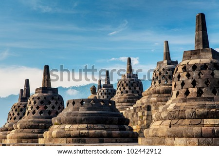 Borobudur Temple.Blue sky Yogyakarta, Java, Indonesia - stock photo