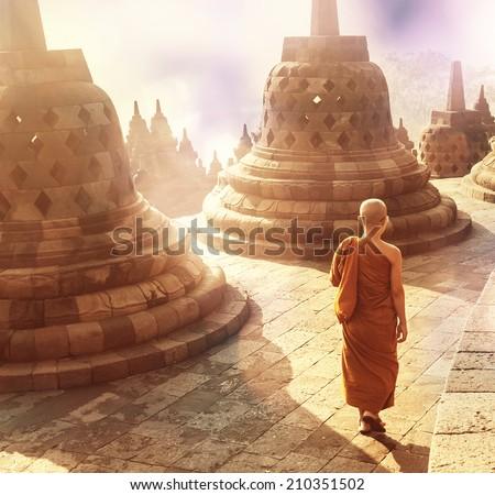 Borobudur Temple,Java, Indonesia. - stock photo